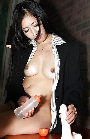 Japanese office girl dildo fuck